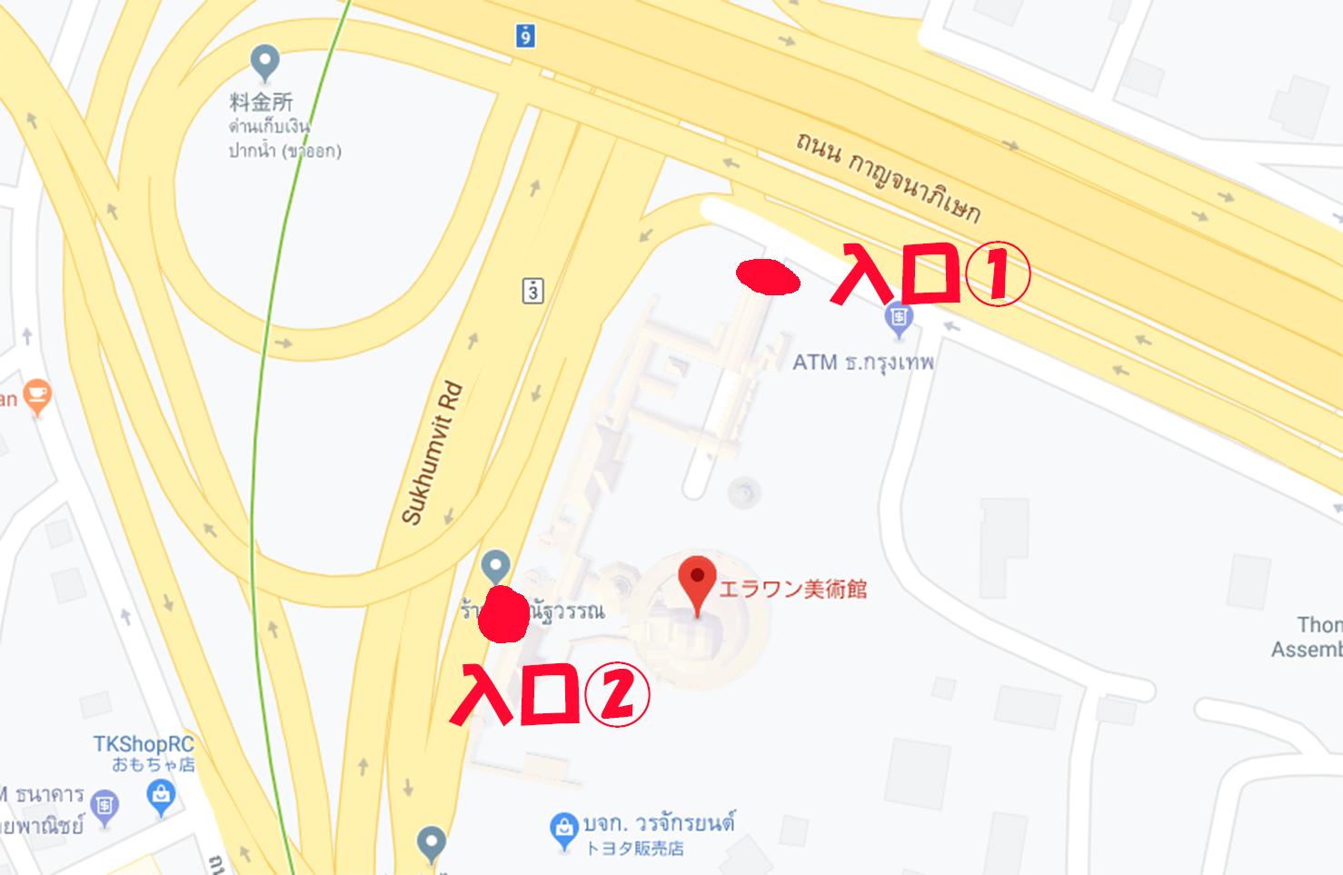 エラワン入口地図スクショ